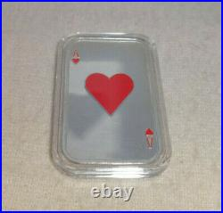 Ace Of Hearts Playing Card Proof Painted Enamel 1 oz Silver Art Bar