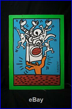 Acrylic and enamel paint on canvas, NOT PRINTED, Keith Haring(28.1 x 23.4 inches)