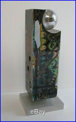 Alfonso Contemporary Sculpture Metal Modernism Enamel Painting Swirl Abstract