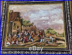 Amazing Antique Enamel on Copper Painting German Pub Scene ca. 19th Century