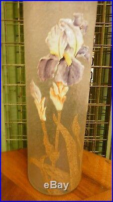 Amazing Antique Mont Joye french hand painted enamel art glass vase