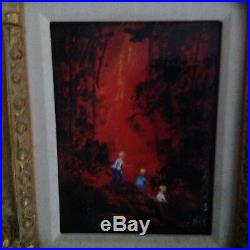 Amazing Artist Max Karp Enamel On Copper Painting Rare Red Color! Must See