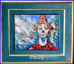 Amazing Original Signed Rare Clown Enamel Art Painting By Artist Pascal Cucaro