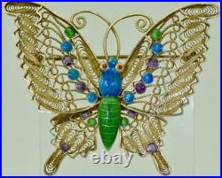 Amazing antique Chinese Art-Deco silver&hand painted enamel butterfly brooch