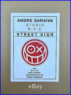 André Saraiva, Mr. A, Street Sign Andre, enamel paint on metal sign. RARE