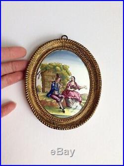 Antique 18th C. Georgian Miniature Battersea Bilston Enamel Plaque Picture