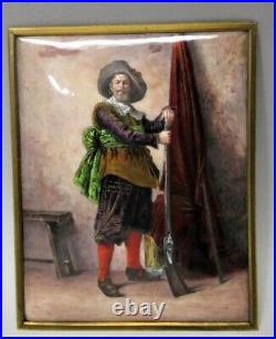 Antique 19th C. FRENCH ENAMEL on COPPER Plaque of a HUNTER with GUN c. 1900