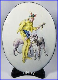 Antique 19th Century Hand-Painted Jester & Two Dogs Enamel on Oval Iron Plaque