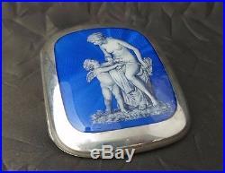 Antique 20th Century Art Deco Guilloche Enamel Painted 925 Silver Cigarette Case