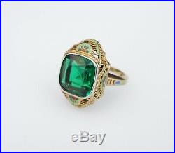 Antique Art Deco 14k Gold Green Crystal Hand Painted Enamel Ring Size 5.5 RG2521