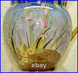 Antique Art Deco Carlton Ware Bluebell Enamel Luster Painted Floral Pitcher Jug