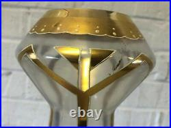 Antique Art Deco Glass Vase with Gold Swirl and Raised White Enamel Decorations