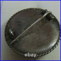 Antique Art Deco Hand Painted Enamel Pastoral Scene Silver Brooch Vtg Pin 11i 35