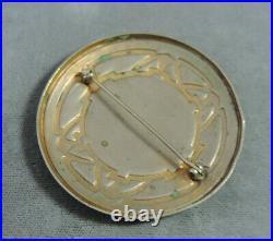 Antique Art Deco Hand Painted Enamel Pastoral Scene Silver Brooch Vtg Pin Cg 62