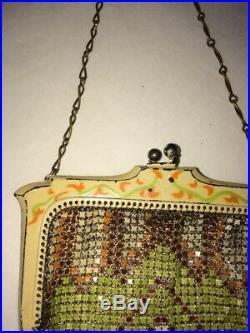 Antique Art Deco Painted Frame Orange Green Brown Enamel Chain Mail Purse