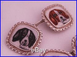 Antique Art Deco era 800 Coin Silver Cufflinks Enamel Painted Hunting Beagle Dog