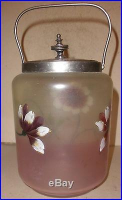 Antique Art Glass Biscuit Jar Victorian Enamel Hand Painted Flower Silver Plate