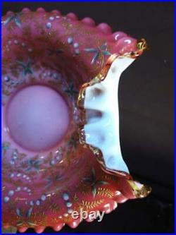 Antique Art Glass Enamel Painted Decoration Brides Basket Bowl Dish Pink White
