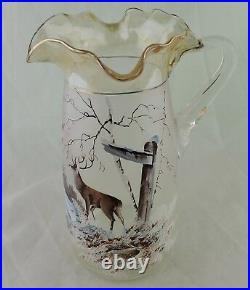 Antique Art Glass Hand Painted Enameled Deer/buck Scenic Pitcher Tumbler Set 6