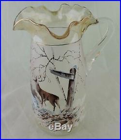 Antique Art Glass Hand Painted Enameled Deer/buck Scenic Pitcher Tumbler Set 6