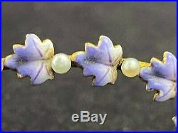 Antique Art Nouveau 14k Gold Barrette Hand Painted Purple Leaf Enamel Pearls