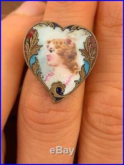 Antique Art Nouveau Enamel Hand painted lady Woman Face minature portrait Ring