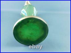 Antique Art Nouveau Hand Painted Enamel Gilded Tulip Art Glass Green Vase