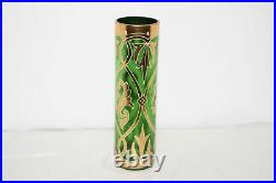 Antique Art Nouveau Hand Painted Enamel Green Victorian Glass Vase-gold-moser