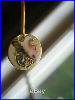 Antique Art Nouveau Hand Painted Enamel Old Mine Diamond Athena 14k Stickpin
