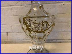 Antique Art Nouveau Harrach Large Glass Vase with Painted Gold Floral Enamel Dec