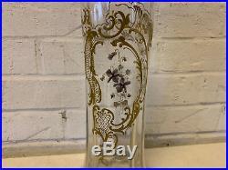 Antique Art Nouveau Harrach Pair of Glass Vases with Painted Floral Enamel Dec