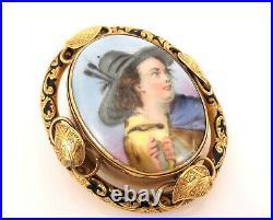 Antique Art Nouveau Painted Porcelain & Enamel 18K Yellow Gold Pendant Brooch