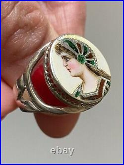 Antique Art Nouveau Sterling Silver Ring Enamel Painted Silberring 925