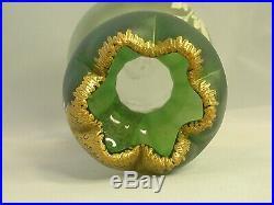 Antique Art Nouveau Vase Hand Blown Glass Raised Enamel & Gold Painted