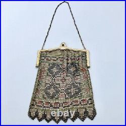Antique Art deco Flapper Painted Enamel Chain Mesh Purse Bag Handbag