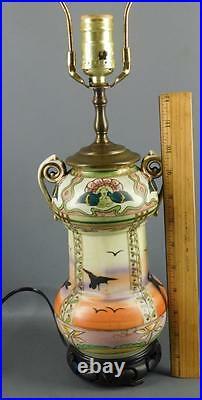 Antique Asian Art Nouveau Hand Painted Porcelain Enamel Birds Boudoir Table Lamp