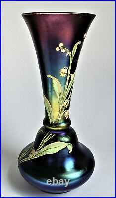 Antique BOHEMIAN CZECH Purple Blue IRIDESCENT Gold PAINTED ENAMEL Art GLASS VASE