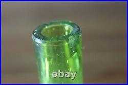 Antique Blown Art Glass Barber Shaving Bottle Green Enamel Paint Flowers Gold