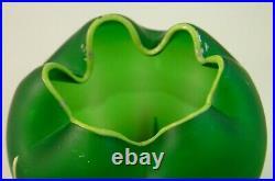 Antique Bohemian Carl Goldberg Green Hand Painted IRIS Enameled Art Glass Vase
