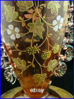 Antique Bohemian Cranberry Hand Painted Enamel STRAWBERRY BLOSSOM Art Glass Vase