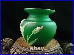 Antique Bohemian Goldberg Green Satin Hand Painted Enamel IRIS Art Glass Vase