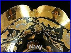 Antique Bohemian Hand Painted Gold & Enamel Poppy Floral Nouveau Art Glass Vase