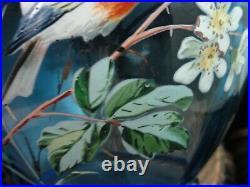 Antique Bohemian Harrach Hand Painted Enamel Blue Bird & Floral Art Glass Vase