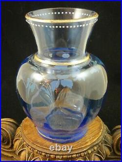 Antique Bohemian Harrach Hand Painted Enamel Blue Bird & Floral Art Glass Vase 1