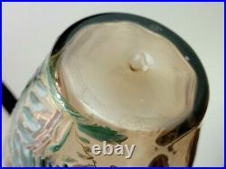 Antique Bohemian Harrach Hand Painted Enamel Butterfly & Peony Art Glass Vase
