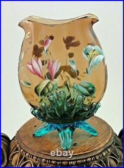 Antique Bohemian Harrach Topaz / Blue Hand Painted Enamel Floral Art Glass Vase