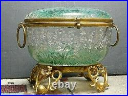 Antique Bohemian Moser Hand Painted Stork Floral Enameled Art Glass Trinket Box