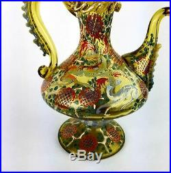 Antique Bohemian Moser Style Art Glass Hand Painted Enamel Pitcher with Rigaree