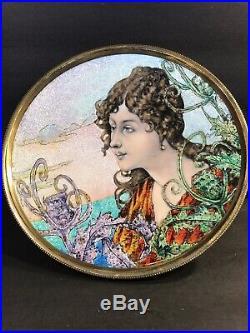 Antique Bronze And Enamel Tazza/ Art Nouveau/France C. 1925/ Hand Painted& Enamel