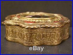 Antique Bronze French Enamel Foil Guilloche Portrait Jewelry Trinket Dresser Box